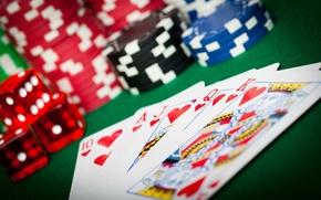 Картинка кубики, фишки, кости, казино, игральные карты
