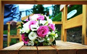 Картинка цветы, розы, свадьба, свадебный букет