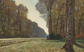 Картинка пейзаж, дерево, картина, Клод Моне, Дорога из Шайи