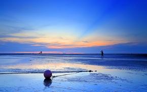 Картинка море, небо, облака, закат, вечер, отлив, фотограф