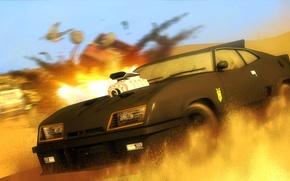 Картинка пустыня, погоня, автомобиль, Mad Max, Ford Falcon, V8 Interceptor