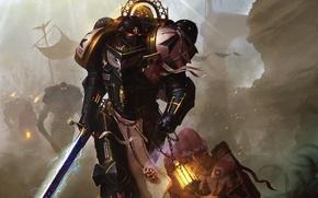 Картинка огни, оружие, искры, флаги, Warhammer, Black Templars, воины, силовая броня
