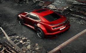 Картинка car, авто, карбон, supercar, sportcar, красная, carbon, Chevrolet Camaro, chrome, Chevy Camaro, вид сзади сверху