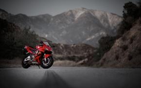 Картинка дорога, горы, красный, мотоцикл, red, honda, хонда, cbr600rr