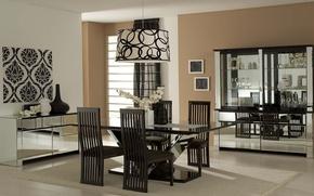 Картинка стол, комната, лампа, стулья, интерьер, ваза, коричневый, орхидея, гостиная