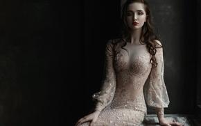 Картинка девушка, украшения, лицо, портрет, платье, брюнетка, прическа, light, голубоглазая, прозрачное, beauty, шикарная, lips, Elina, Tatiana …