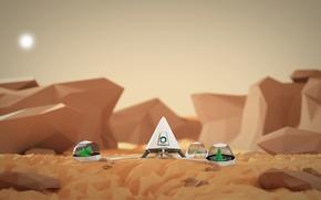 Картинка космос, пустыня, корабль, планета, арт, марс, оазис, art, oasis, martian