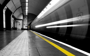 Картинка черно-белая, Метро, тоннель