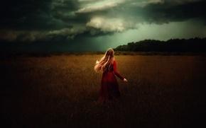 Обои тучи, TJ Drysdale, девушка, в красном, поле, The Lady In Red