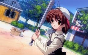 Картинка девушка, бейсбол, кепка, Clannad, Кланнад, Nagisa Furukawa