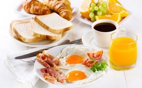 Обои кофе, завтрак, фрукты, яичница, cup, бекон, eggs, coffee, croissant, breakfast, круассан