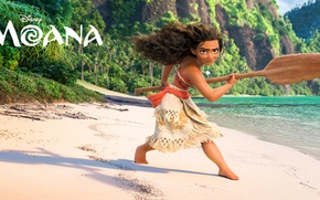 Картинка песок, море, скалы, берег, мультфильм, фэнтези, девочка, весло, Walt Disney Pictures, абориген, Moana, Моана