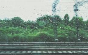 Картинка дорога, капли, движение, дождь, купе, поезд, окно, железная