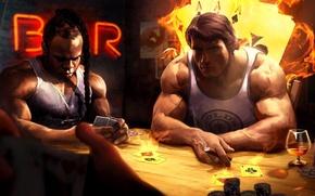 Картинка карты, игра, покер, Арнольд Шварценеггер, Arnold Schwarzenegger, Кай Грин, Kai Greene, Aрт
