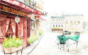 Обои цветы, город, улица, рисунок, здания, ресторан, столик