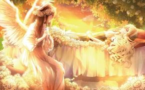 Картинка закат, цветы, улыбка, девушки, розы, крылья, ангел, аниме, арт, touhou, 3000 xiao chun, hakurei reimu. …