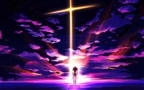 Картинка небо, облака, закат, робот, аниме, арт, neon genesis evangelion, меха, eva 01, craft ghost