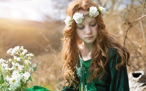 Картинка цветы, настроение, волосы, девочка, веснушки, рыжая, венок, рыжеволосая, конопатая