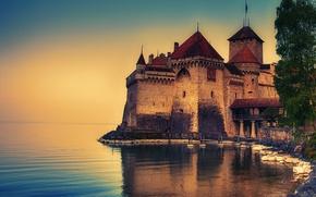 Картинка Швейцария, Женевское озеро, замок Шильйон