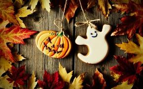 Обои Halloween, тыква, доски, глазурь, печенье, кленовые листья, веревка, хэллоуин, приведение