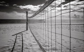 Обои пляж, сетка, спорт, море