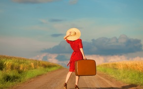 Картинка дорога, небо, облака, Девушка, платье, чемодан, шляпка