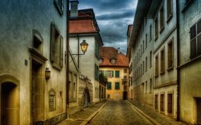 Картинка улица, дома, hdr, фонарь