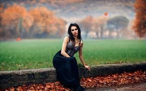 Картинка осень, девушка, макияж, Alessandro Di Cicco, Foggy Orange, боке.листья