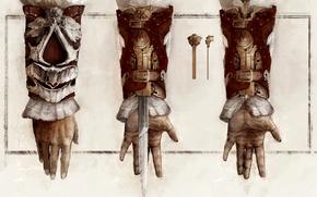 Обои рисунок, механизм, рука, арт, assassins creed, кредо убийц, спрятанный клинок