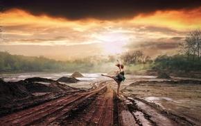Картинка дорога, девушка, дождь, танец, ситуация