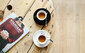 Картинка стол, кофе, чашки, напитки, журнал, эспрессо