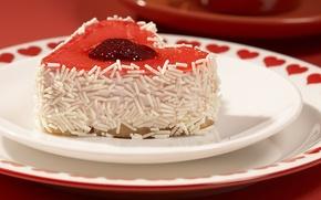 Обои сердечки, сладкое, красное, тортик, красный фон, еда, пирожное, крем, клубничный джем, тарелки, стружка