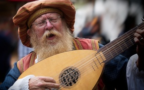 Картинка очки, старик, борода, музыкальный инструмент, пение, лютня