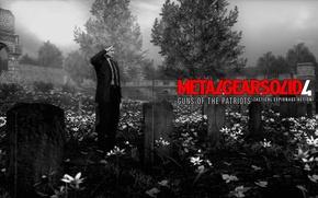 Картинка кладбище, Solid Snake, Old Snake, Guns of the Patriots, stealth-action, надгробная плита, Metal Gear Solid …