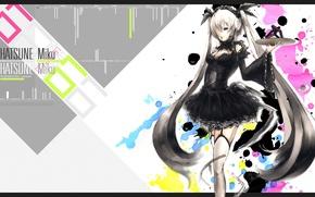 Картинка чулки, кляксы, корсет, vocaloid, черное платье, Hatsune Miku, длинные волосы, вокалоид, art, поднос, Yakatabako