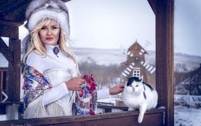 Картинка кот, девушка, украшения, шапка, блондинка, мех, платок, калина, этно