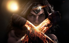Обои Warner Bros. Pictures, Action, Face, Sci-Fi, WonderWoman, Strong, Beautiful, Film, 2016, Eyes, Batman vs Superman, ...