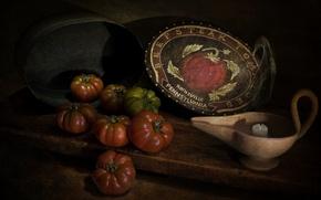 Картинка стиль, свеча, помидоры, винтаж