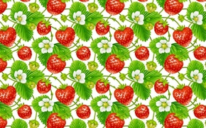 Картинка цветы, фон, текстура, земляника, ягода, арт