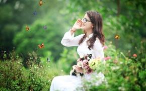 Картинка бабочки, цветы, улыбка, одежда, Девушка, азиатка
