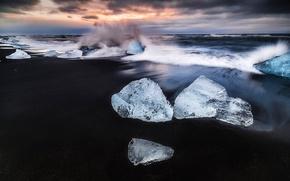 Картинка волны, пляж, лёд, всплеск, утро, Исландия, ледниковая лагуна Йёкюльсаурлоун