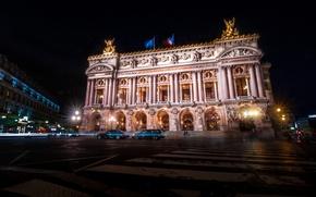 Картинка ночь, огни, Франция, Париж, театр, Опера Гарнье, Гранд-Опера