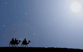 Картинка дорога, путь, звезда, рождество, подарки, верблюды, Путешествие, дары, волхвы, вифлеем