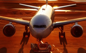 Обои рассвет, Airbus, самолёт, аэропорт