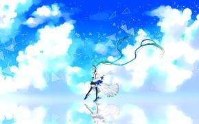 Картинка небо, девушка, облака, улыбка, отражение, арт, vocaloid, hatsune miku, 7th dragon, cu riyan