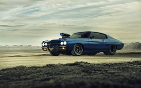 Обои chevrolet, chevelle, ss, 1970, supercharger, blue, dragster, muscle