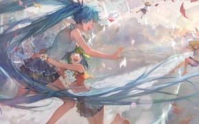 Картинка небо, солнце, закат, девушки, аниме, арт, объятия, парень, vocaloid, hatsune miku, kagamine rin, kagamine len, …