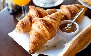 Картинка завтрак, выпечка, джем, круассаны, croissant, breakfast
