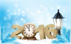 Картинка снег, праздник, часы, елка, фонарь, 2016