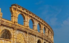 Картинка небо, развалины, руины, колизей, амфитеатр